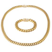 14MM 30 Inches Gold Filled Micro Pave CZ acero inoxidable collar cubano cadena pulsera conjunto