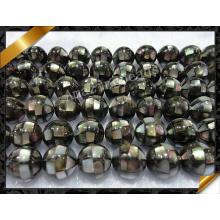 Бирюзовые серьги из бисера Abalone Paua, черные круглые бисера (APS023)