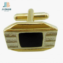 Promotional Gift Black Enamel Logo Gold Plated Custom Brass Cufflink in Metal Crafts