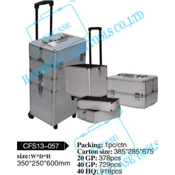 Hot selling stylish rolling aluminum makeup with wheels