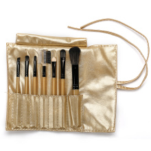 Gold pu bag with 7 pcs makeup brushes