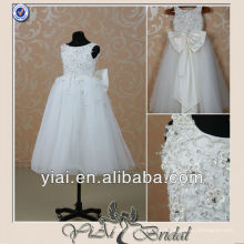 MM521 Real Sample Flowers A-line Ivory Bow Flower Girl Dresses