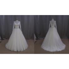 Long Lace Sleeve Beaded Sash Chiffon Princess Wedding Dress 2016