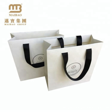 Low Cost Ribbon Handle White Gift Carrier Custom Made Design Logo Print Luxury Paper Shopping Bag