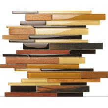 kayu coklat butir mosaik yang dipoles