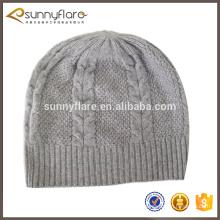 barato Sombrero clásico de la gorrita tejida del invierno de la cachemira del punto del patrón clásico del cable 100%