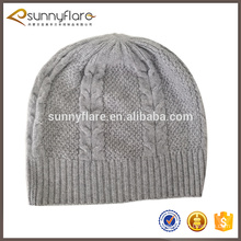cheap classic Cable pattern 100% Knit Cashmere winter Beanie hat