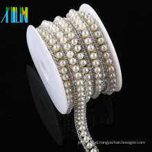 Wholesale Crystal Rhinestone Trimming White Plastic Beaded Trim For Apparel
