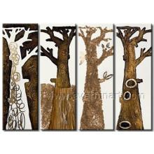Peinture à l'huile à l'arbre du paysage fait à la main