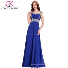 Grace Karin Wide hombro correas de lentejuelas de cuentas azul real formal largo vestido de noche al por mayor CL4446-4
