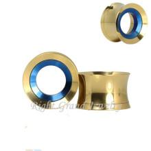 Gold Internal Threaded 316L Chirurgenstahl Günstige gefälschte Ohrstöpsel