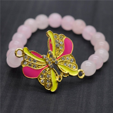 Rose Quartz 8MM Round Beads Stretch Gemstone Bracelet with Diamante alloy Butterfly Piece