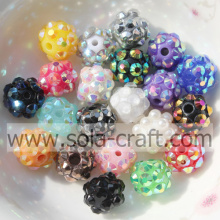 Fashion Colorful 10mm Acrylic Resin Rhinestone Round Beads