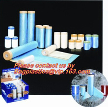 plastic drop cloth, PE drop cloth, plastic masking film, Taped clear HDPE plastic masking film drop film, House Painting Plastic