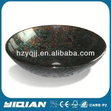 Bacia de vidro temperado Black Countertop Art Banheiro escaninho de vidro