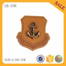 LB376 Personalisierte berühmte Metall Marke Logo deboss echte Jeans heiße Presse Leder Patch Design