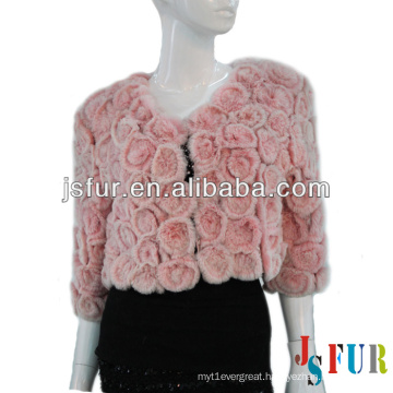 2013 New product flower pattern party lovely pink rabbit fur coat