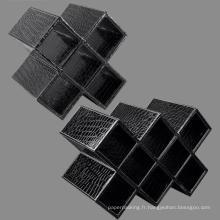 Étagère à vin en cuir de crocodile noir / Porte-vin / Porte-vitrine