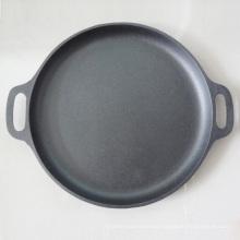 Sartén para pizza redonda de hierro fundido con recubrimiento de aceite vegetal