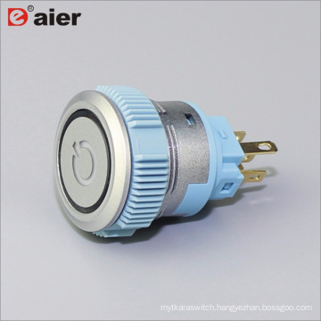 22mm Flat Button Ring Illuminated Power Logo SPDT Momentary IP67 Silver Color Plastic Push Button Switch