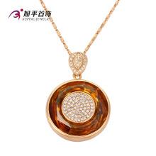 Xuping мода роскошный овальный Кристалл циркон ювелирные изделия Кулон ожерелье с золотым покрытием (32577)