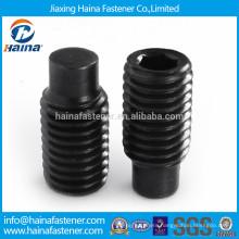 Black carbon steel socket set screw with dog point