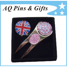High Quality Golf Divot Set Souvenir in Epoxy & Glitter (Golf-08)