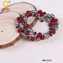 2014 Trendy Pearl Crystal Stone Large Coil Bracelet (BR125165)