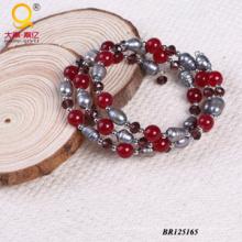 2014 na moda pedra de cristal pérola grande bobina pulseira (BR125165)