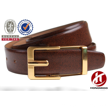 Handsome men's red strap with gold buckle classic belt from Wenzhou