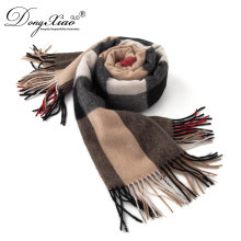 Exquisite Technical Dubai Scarf Wholesale Mongolian Pure Checked Cashmere Scarf