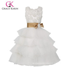 Grace Karin Latest Sleeveless Layers Design White Flowers Girl Dresses CL008904
