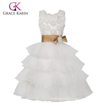 Grace Karin Latest Sleeveless Layers Design White Flowers Girl Dresses CL008904