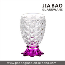 2015 New Engraved Glassware Cup with Colored Foot