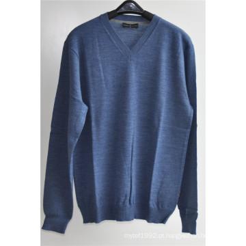 100% lã pura cor V-Neck Kint pulôver camisola para o homem