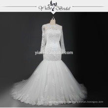 RSW721 lange Hülsen-Spitze-Hochzeits-Kleider Türkische Hochzeits-Kleider Meerjungfrau mit Schlüsselloch-Rückseite