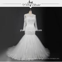 RSW721 vestidos de boda de encaje de manga larga turquesa vestidos de boda sirena con ojo de cerradura de vuelta