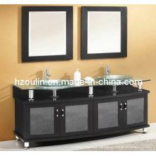 Tocador de baño con doble lavabo de vidrio (BA-1129)