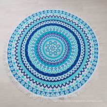 Wonderfully bohemian blue Mandala design Round beach towel BT-539 China Supplier