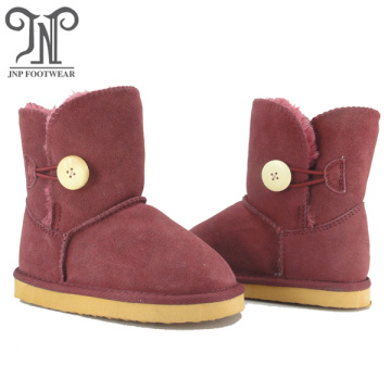 Kids children's burgundy leather boots shoes