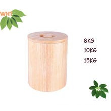 Round Rubber Wooden Rice Storge Box