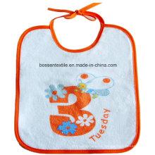 Babero de bebé impreso personalizado de algodón blanco promocional con cierre de cadena