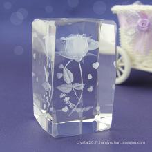 Cube en cristal sculpté à la mode pour la décoration à la maison