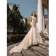 Sweet heart neckline vestido de noiva de sereia dourada vestido de noiva de designer design elegante para noivas