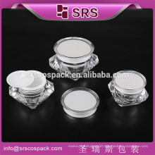 SRS luxury acrylic diamond shape jar , 5g 15g 30g 50g acrylic container cosmetics