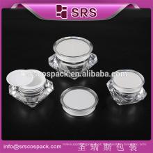 SRS luxo acrílico diamante forma jar, 5g 15g 30g 50g acrílico recipiente cosméticos