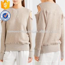 Sweatshirt à manches courtes en coton mélangé à manches longues pour la fabrication en gros de vêtements pour femmes (TA4100B)