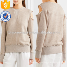 Cold-shoulder Cotton-blend Sweatshirt Manufacture Wholesale Fashion Women Apparel (TA4100B)