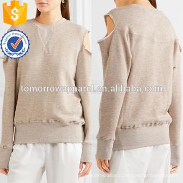 Холодной-плечо хлопка-смесь Толстовка Производство Оптовая продажа женской одежды (TA4100B)