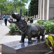 Décoration extérieure de jardin bronze hippopotame statue sculpture pour fonderie de bronze